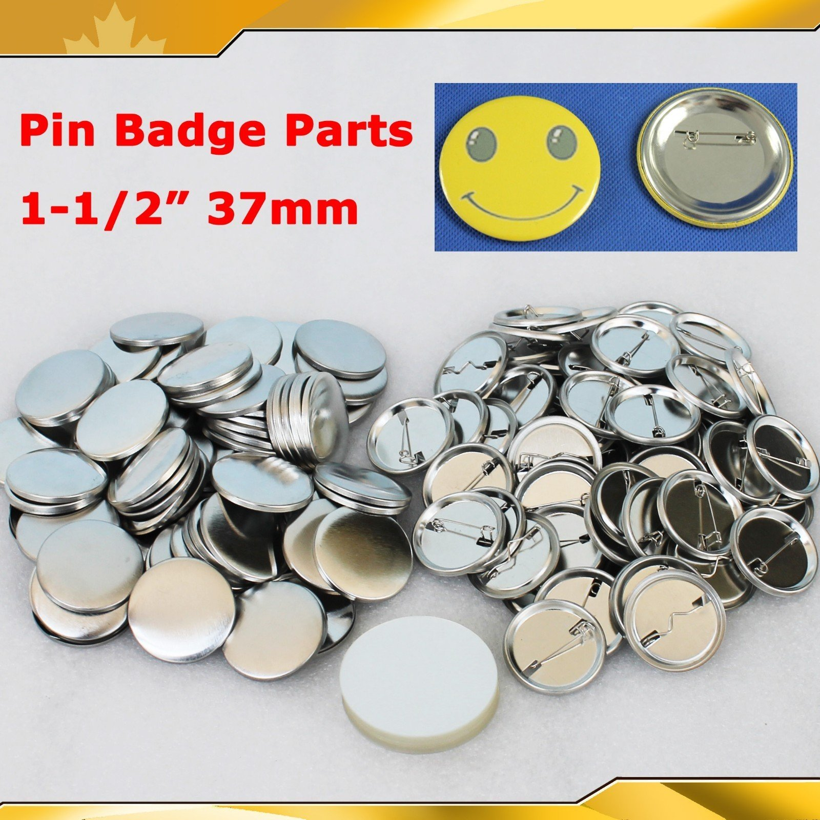 1-1/2'' 37mm 100Sets Pin Badge Button Parts Supplies for Pro Maker Machine by Button Maker (Image #1)