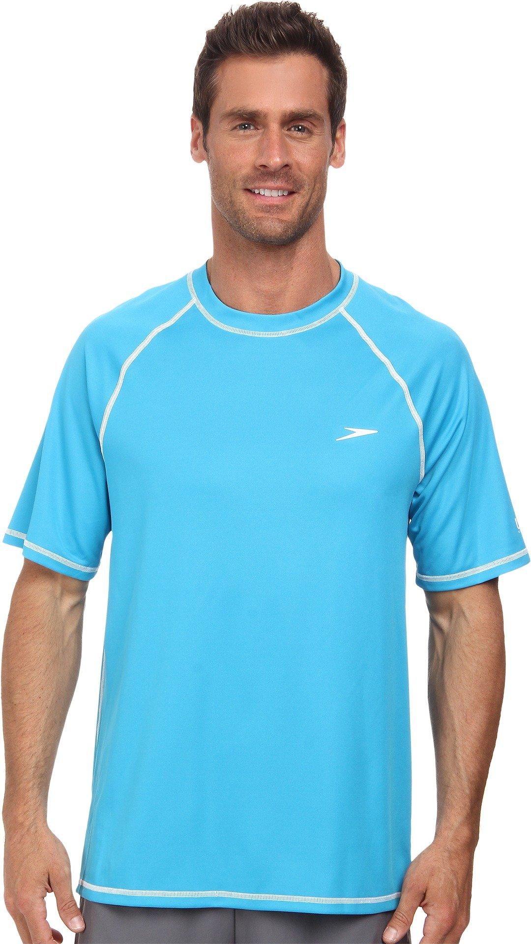 Speedo Men's UPF 50+ Easy Short Sleeve Rashguard Swim Tee, Cyan, Large