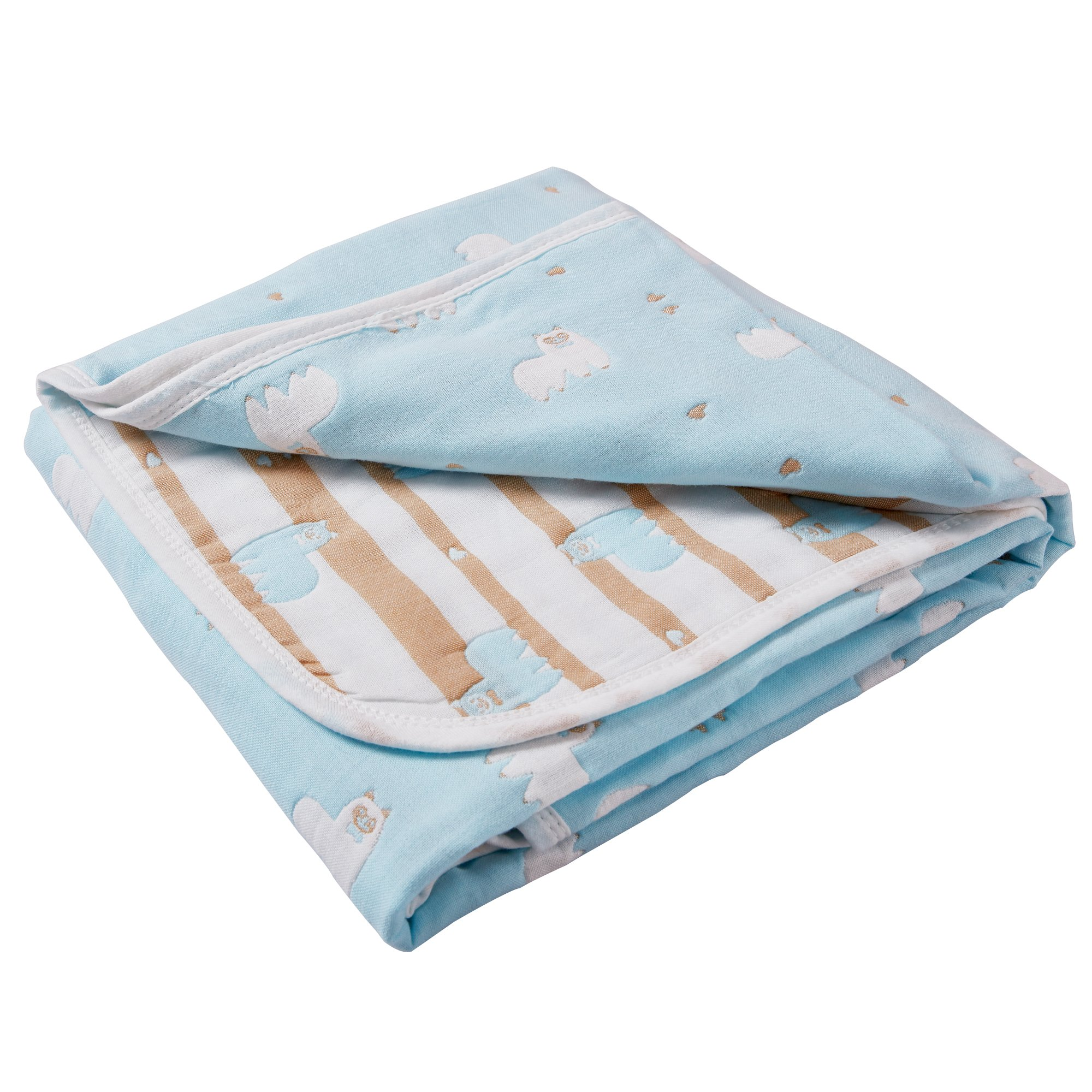 6 Layers of 100% Organic Muslin Cotton Toddler Blanket with Reversible Alpaca Printed Design, 43''x 43'', Blue by NTBAY