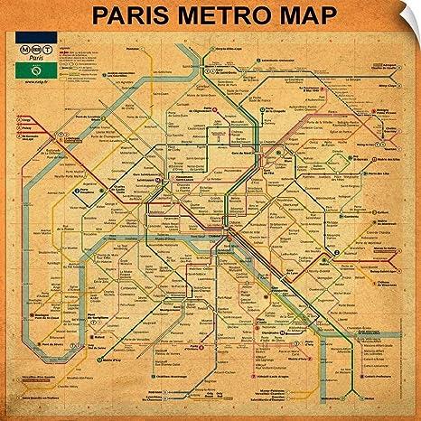 Paris Metro Map Printable.Amazon Com Canvas On Demand Bill Cannon Wall Peel Wall Art Print