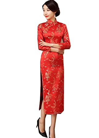 6d0a38534 Amazon.com: Shanghai Story Dragon Qipao Red Chinese Oriental Dress Long  Cheongsam for Women: Clothing