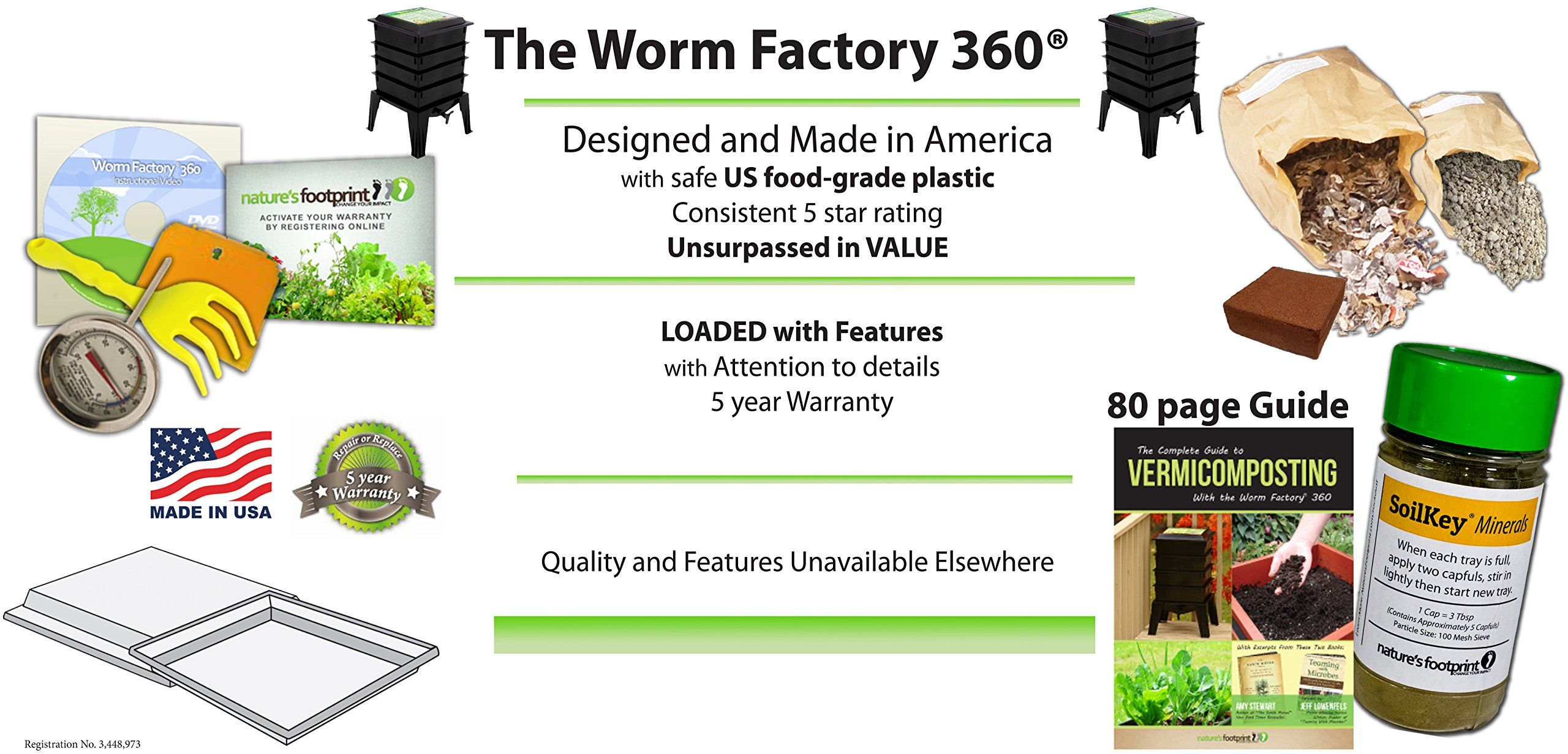 Worm Factory 360 WF360B Worm Composter, Black by Nature's Footprint