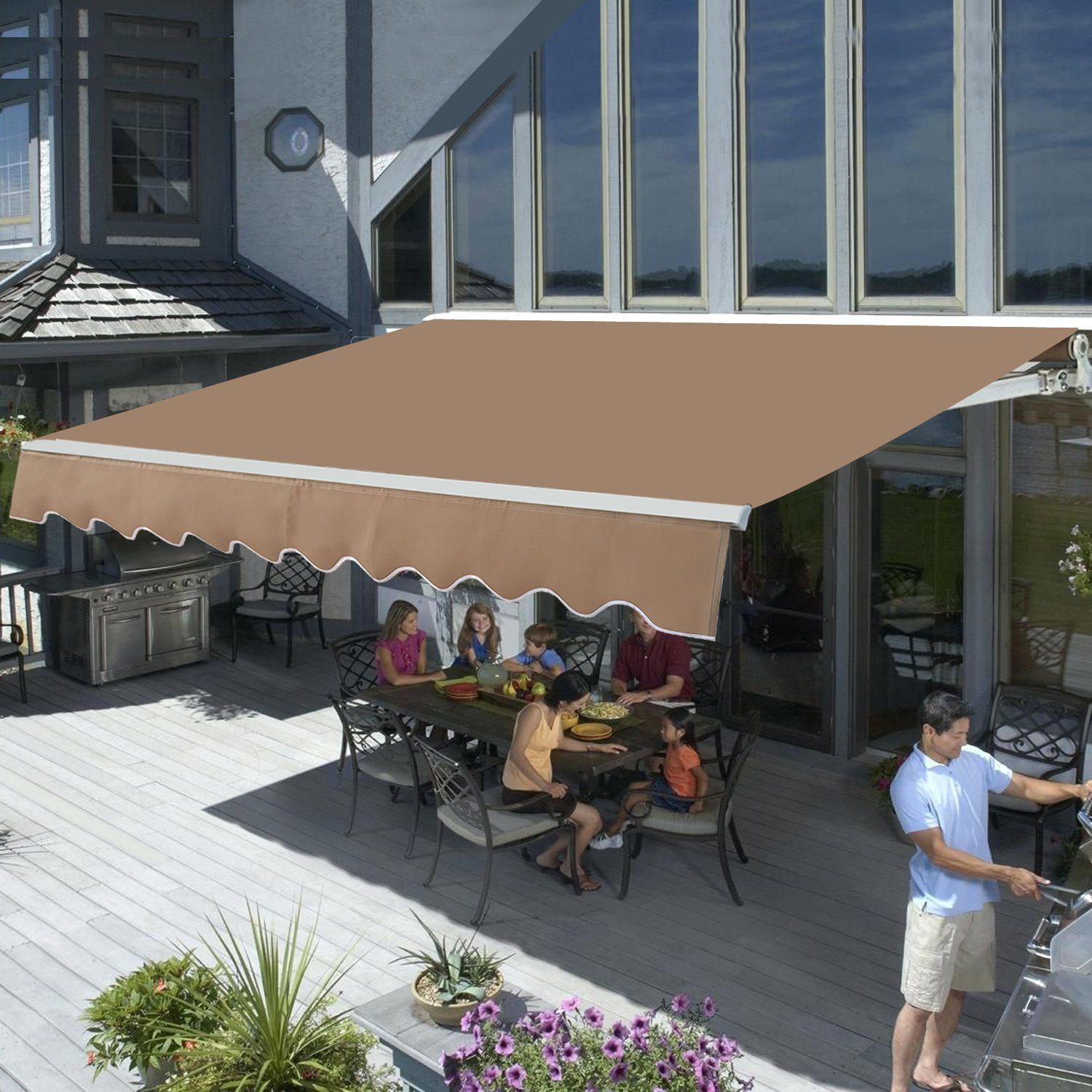 canopy outdoor pool pin awning beautiful living shade install your stationary deck by