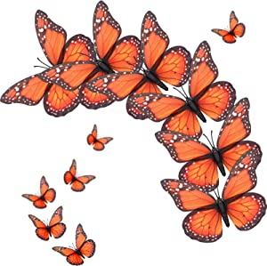 24 Pieces Monarch Butterfly Decoration Artificial Butterfly Wall Decor 3D Monarch Butterfly Magnet for Decorating Home Bedroom Wedding Party (Orange, 4.72 Inch)