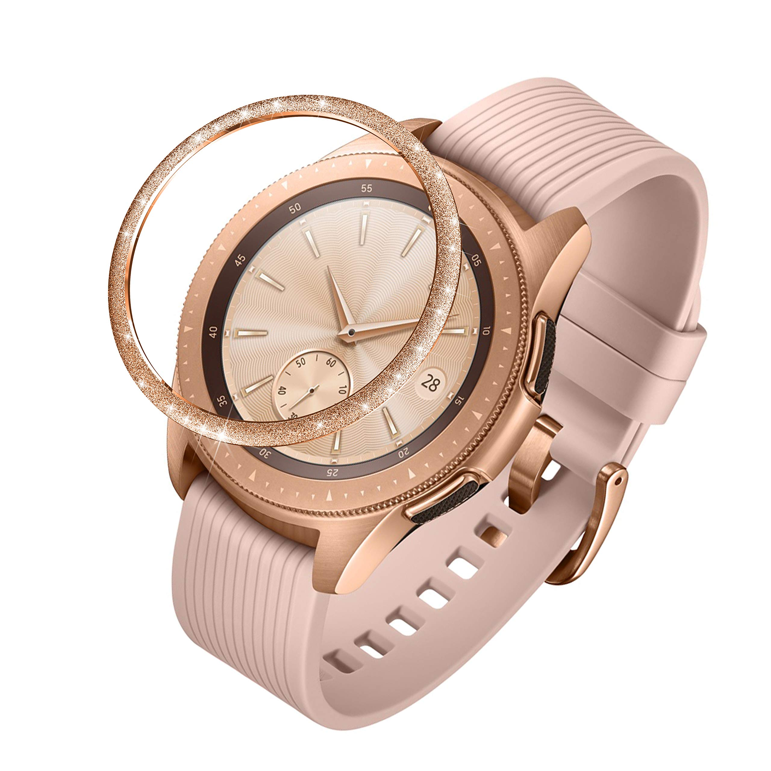 ANCOOL Compatible Samsung Galaxy Watch 42mm/Gear Sport Bezel Ring Adhesive Cover Anti Scratch Stainless Steel Protector Design for Galaxy Watch 42mm/Gear Sport -Rose Gold by ANCOOL