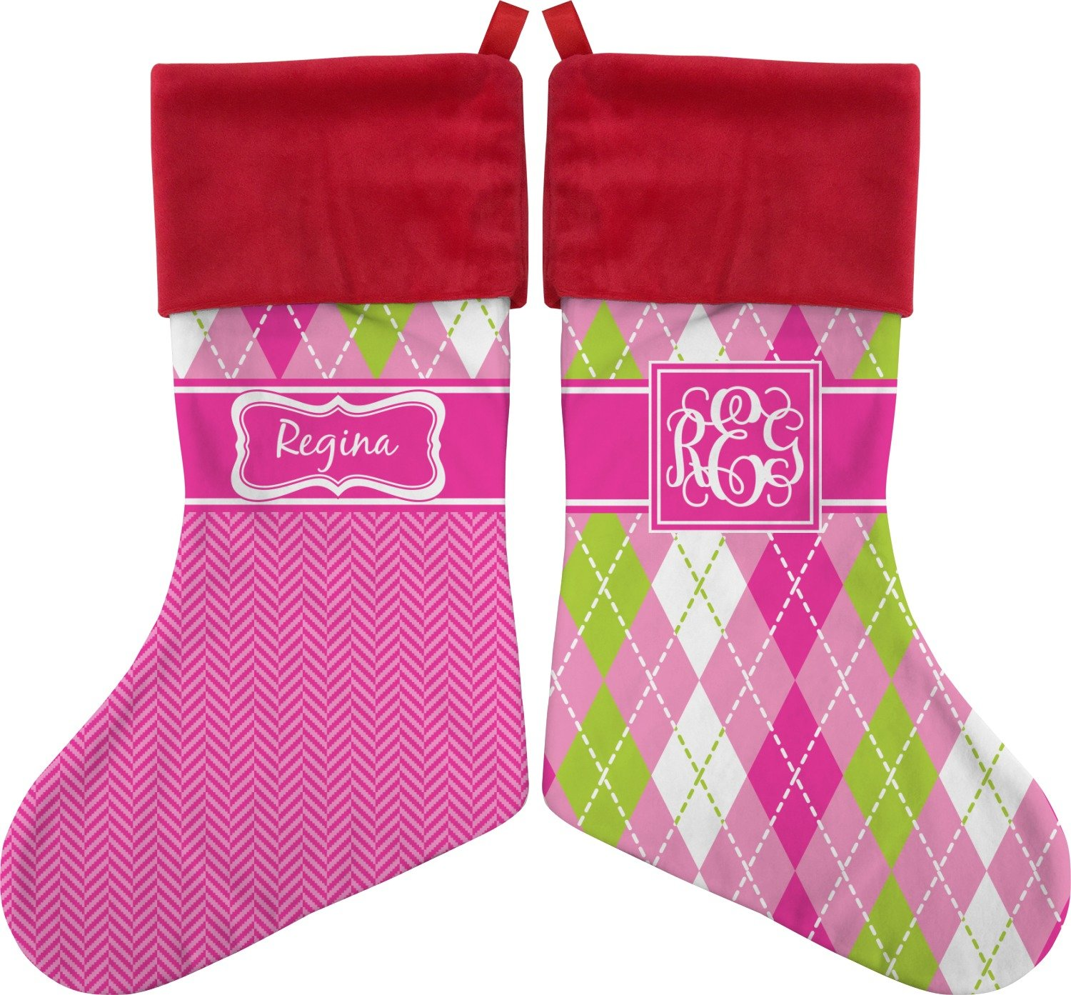af8455a3a Amazon.com  RNK Shops Pink   Green Argyle Christmas Stocking - Double-Sided  (Personalized)  Home   Kitchen