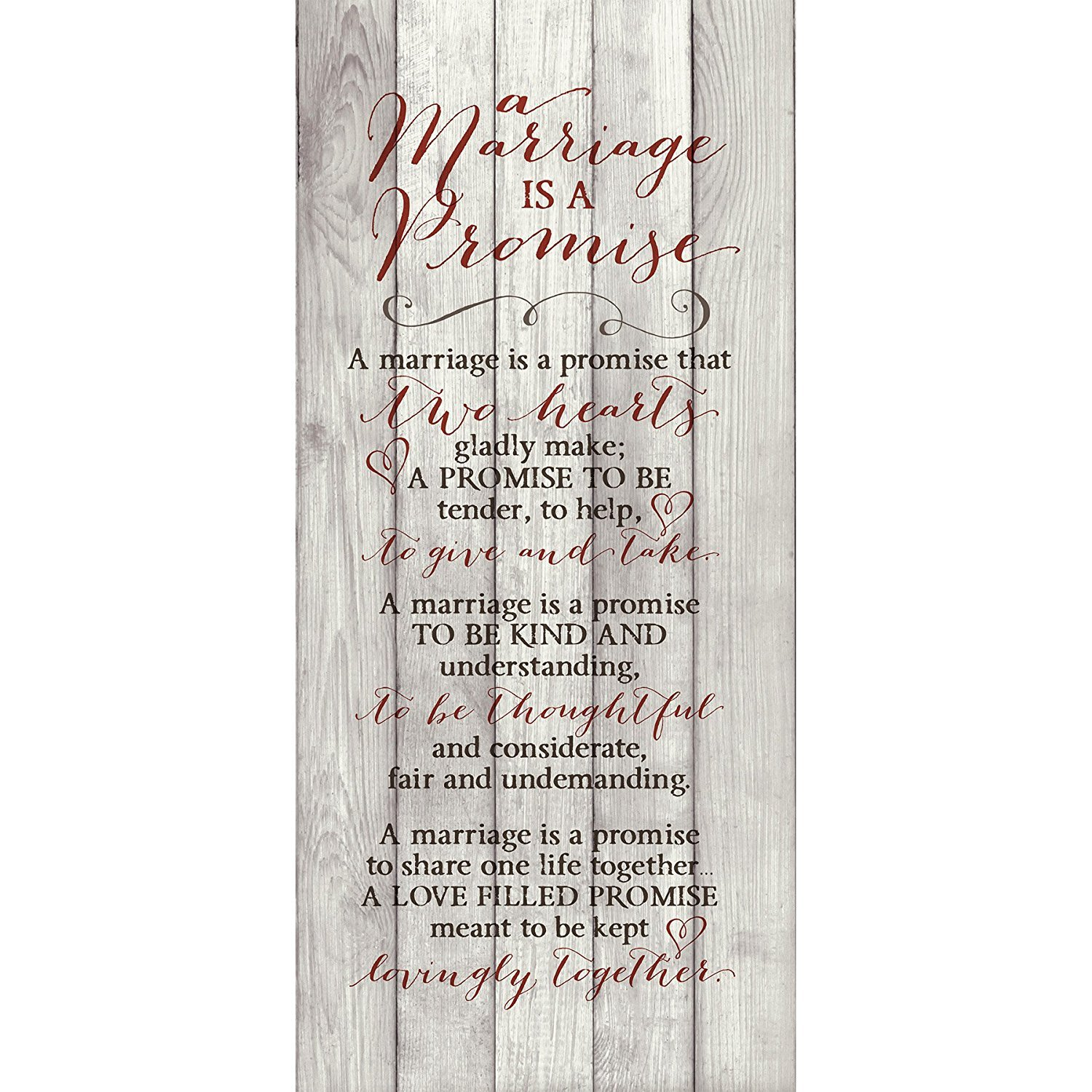 A Marriage Is A Promise 6 x 9 Wood Plank Look Wall Art Plaque Dexsa DX8800
