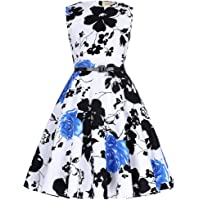 31a8e2c1be20 Kate Kasin Girls Sleeveless Vintage Print Swing Party Dresses 6-15 Years