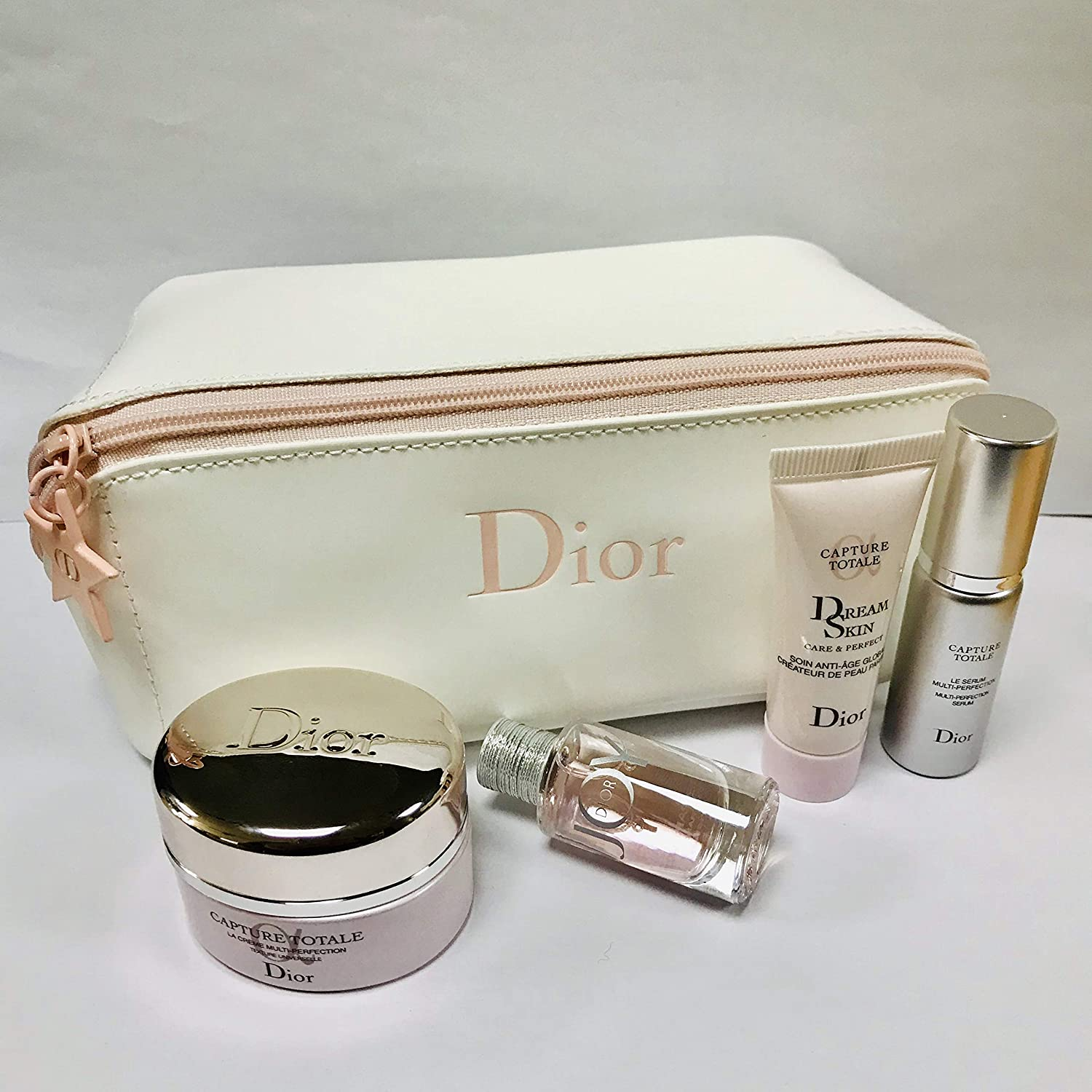 Dior Capture Totale & JOY EDP Travel Set with lovely White cosmetics pouch