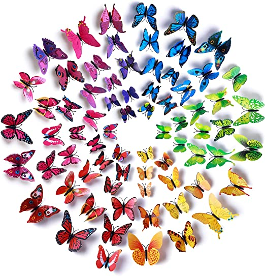 Hangnuo 84 Set 3D Butterfly Wall Sticker Silver Wall Decals Decor for Home Bedroom Nursery Decoration