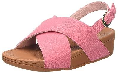 FitFlop Lulu Cross Slide Shimmer-Denim, Sandales Bout Ouvert Femme, Rose (Pink Shimmer-Denim 539), 36 EU