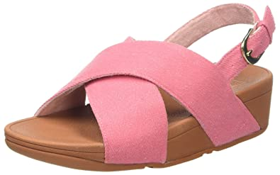 4d6cf0b41ceaf Fitflop Women s LULU Cross Back-Strap Sandals-Denim Open Toe Pink Shimmer
