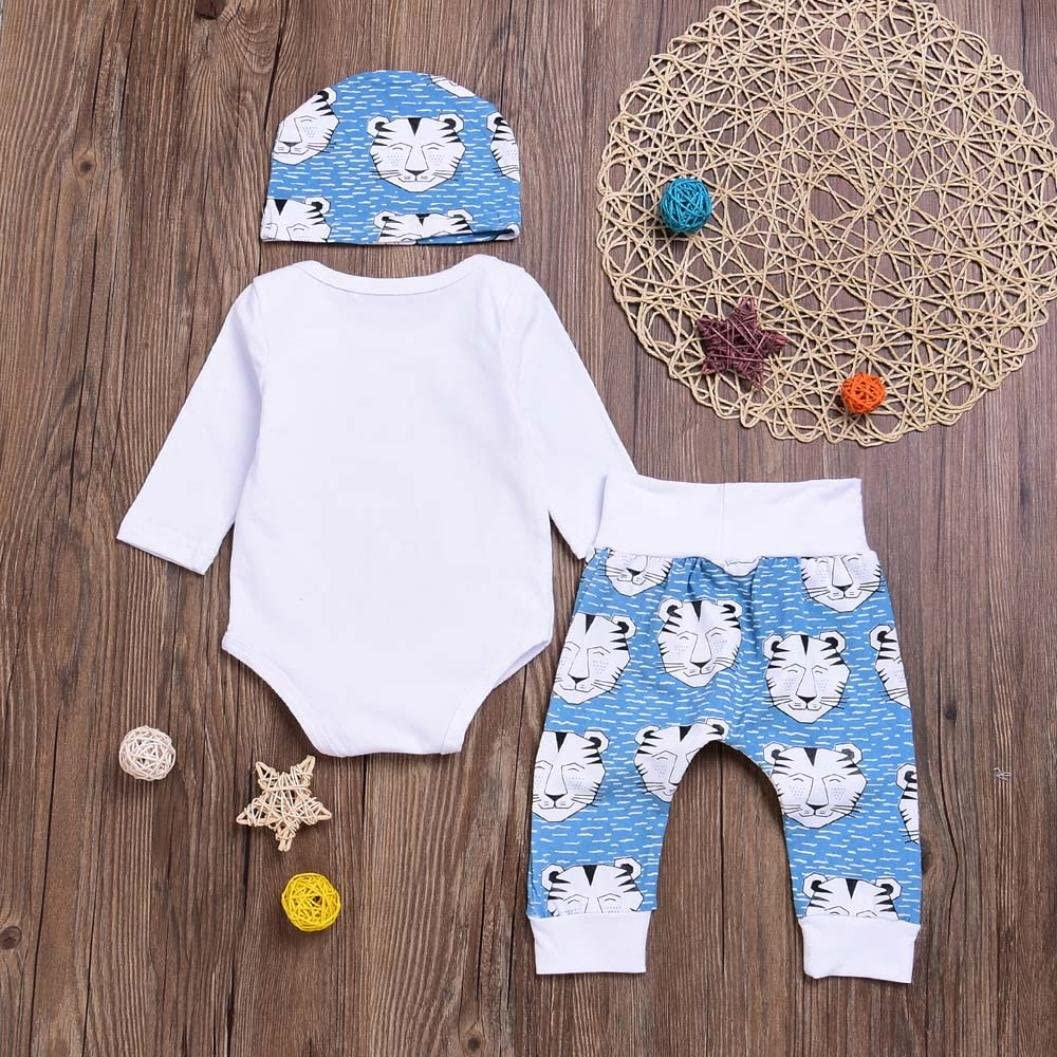 For 0-18 Months Baby,DIGOOD Christmas Toddler Baby Boys Girls Letter Romper+Deer Print Pants+Hat 3Pcs Fresh Outfits