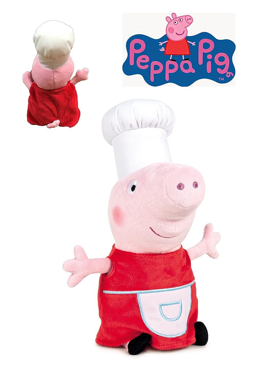 Peppa Pig - Peluche Peppa disfrazada de cocinera 20cm - Calidad super soft PPIG