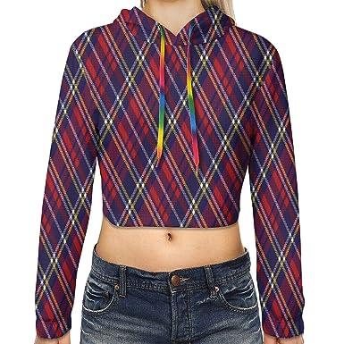 Scots Style Clan Tartan Plaid Navy Red Women Sweatshirt Casual Hoodie Tshirt T Hoodies Cropped Crop Tops