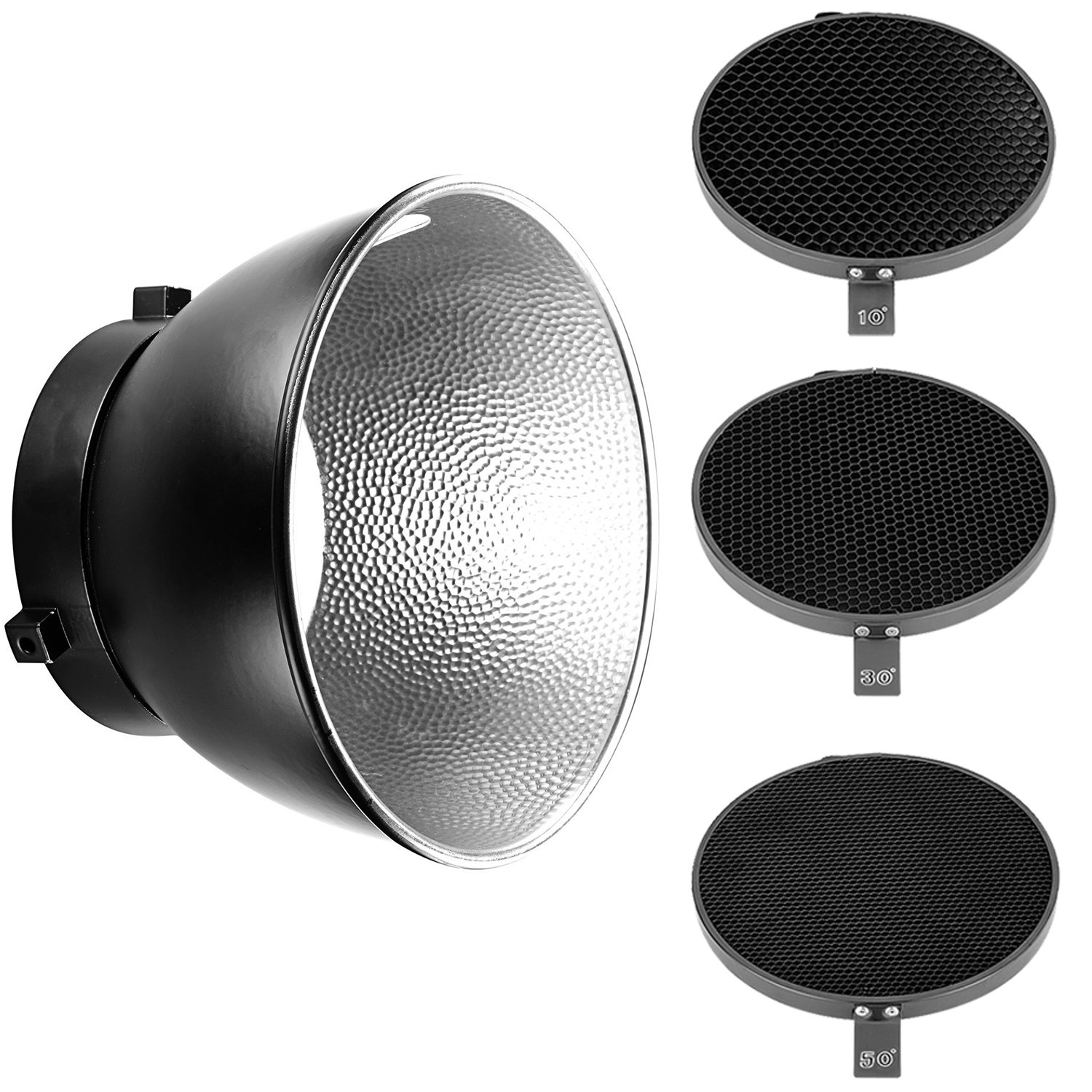 Neewer 7inch/ 18cm Standard Reflector Diffuser with 10/30/50 Degree Honeycomb Grid for Bowens Mount Studio Light Strobe Flash