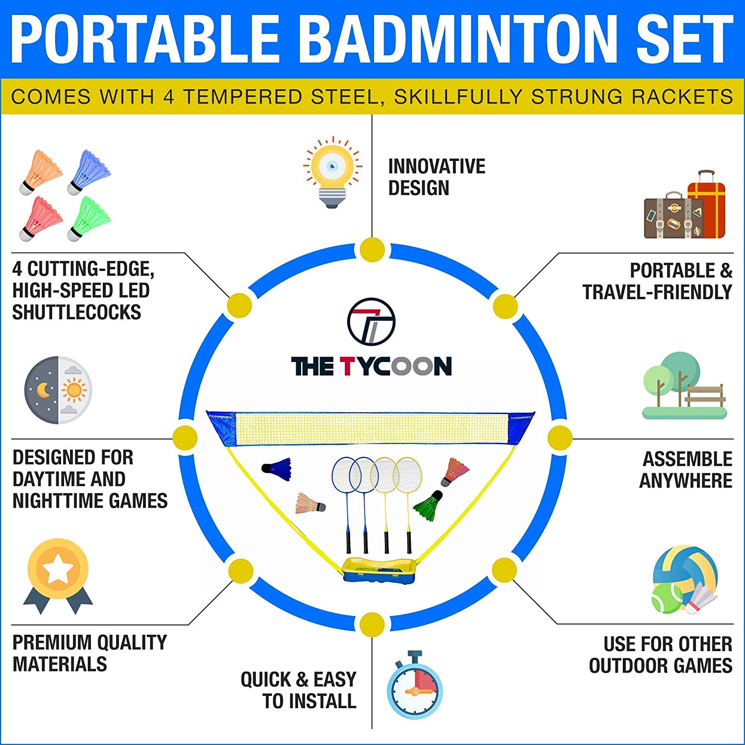 Portable Badminton Set with Net 4 Rackets and 4 LED Shuttleco... Details about  /Badminton Set