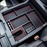 JDMCAR Compatible with Center Console Organizer Toyota Tundra Accessories 2014-2021(Red Trim)