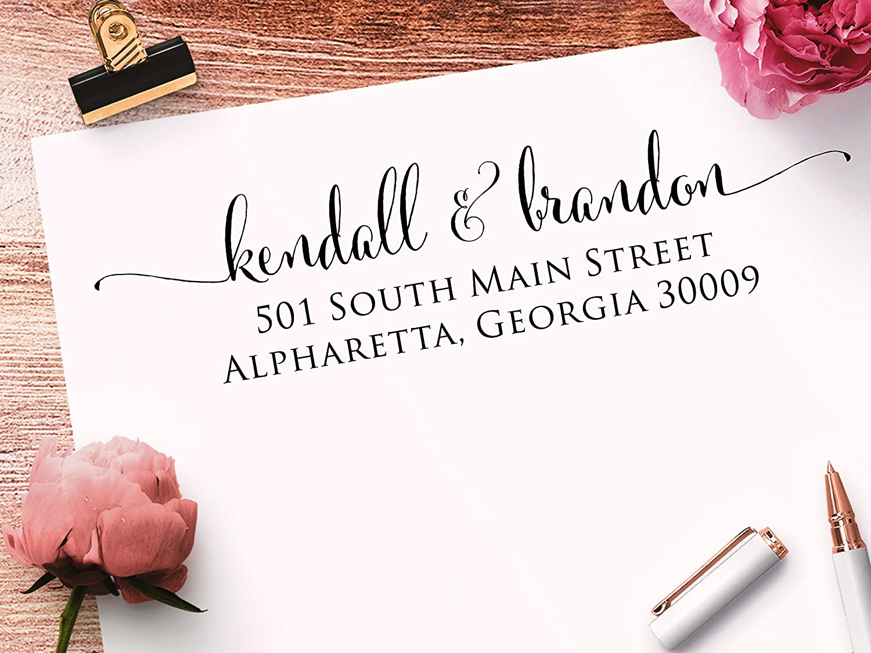 Self Inking Black Ink Custom Address Stamp Calligraphy Script Return Address Stamp