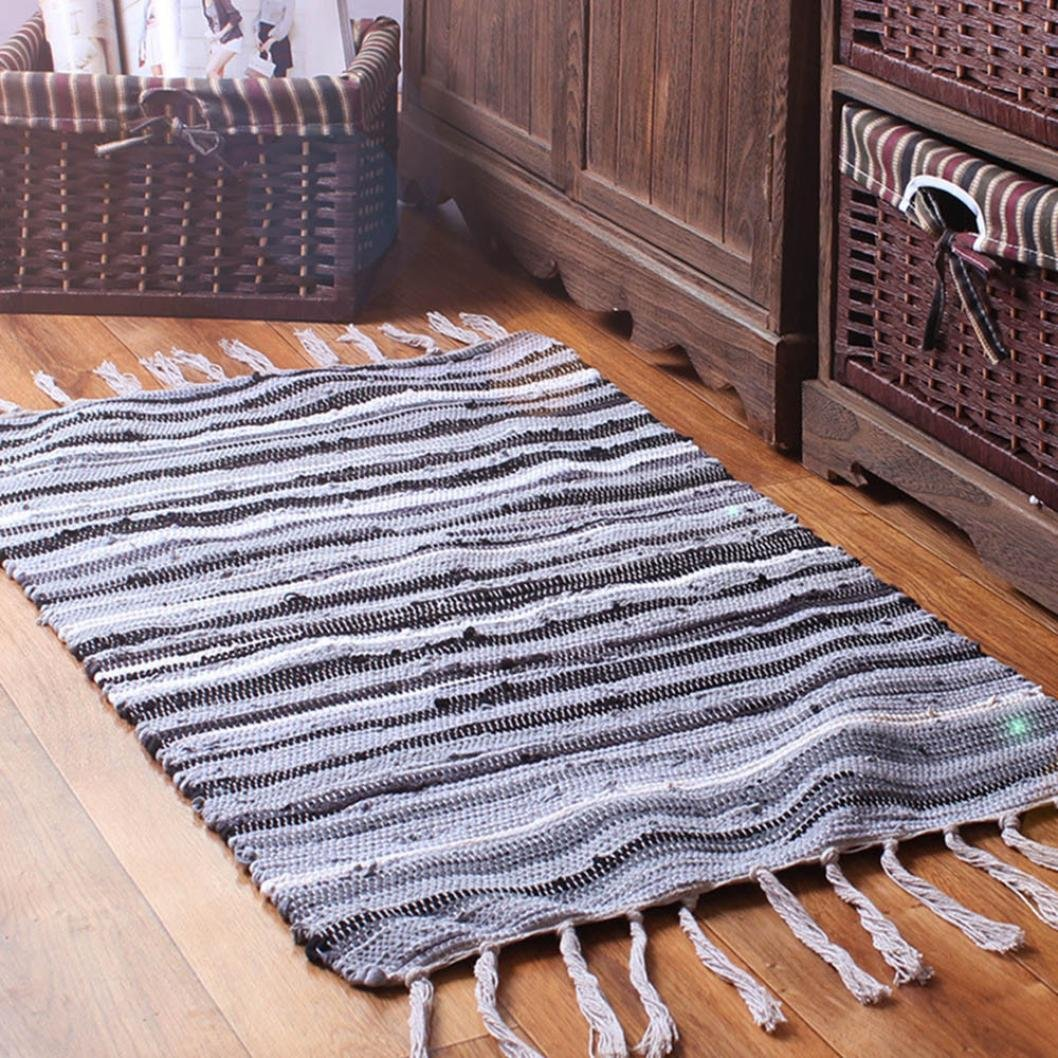 Molyveva Fashion Area Rugs Mediterranean Style Cotton Kitchen Oblong Shape Multi-Usage,50x80cm Old Tree Store