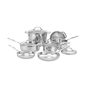 T-fal Ultimate Stainless Steel Copper Bottom Cookware Set, 13 Piece