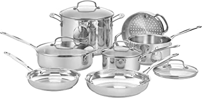Cuisinart 77-11G Chef's Classic Stainless 11-Piece Cookware Set - Silver
