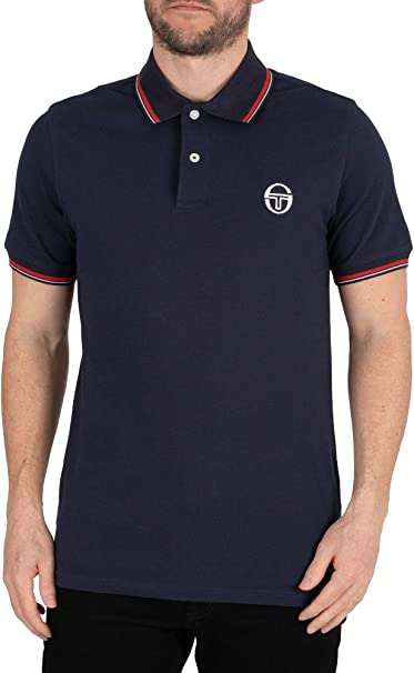 Sergio Tacchini Tipped Polo Shirt Navy/Red: Amazon.es: Ropa y ...