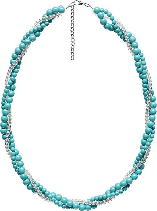 Mother/'s day gift Sterling Silver Handmade Neon Apatite and Sky Apatite Necklace-16+2 Beaded Necklace