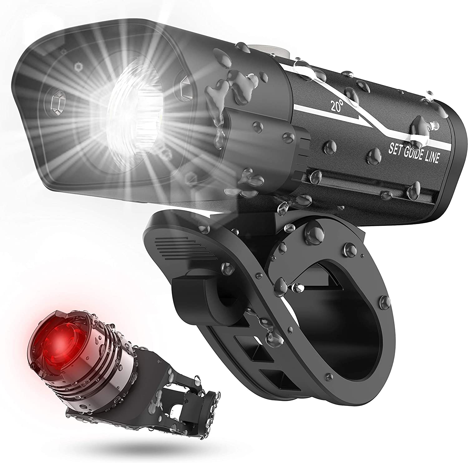 front USB rechargeable lamp /& rear 5 LED bike lights set road mountain bicycle