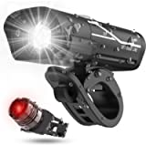 Lxl Usb Rechargeable Bike Headlight and Back Light Set, Runtime 10+ Hours 600 Lumen Bright Front Lights and Tail Rear…