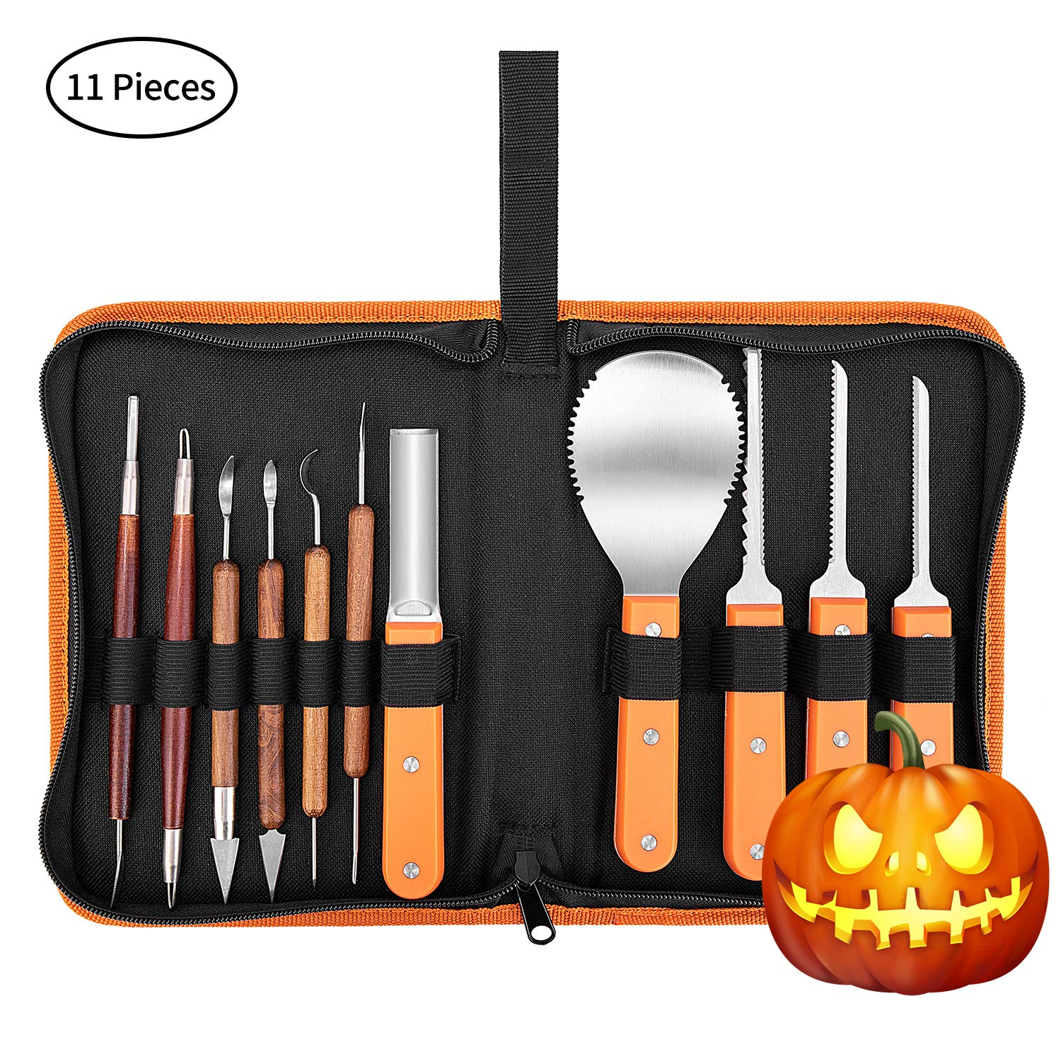 VIVOHOME Stainless Steel 11 Pieces Professional Halloween Pumpkin Carving Tools Kit with Zipper Bag for Kids and Adults by VIVOHOME