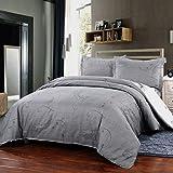 Simple&Opulence Polyester 3 Piece Jane European Style Bedding Light Grey Duvet Cover Set (Queen)
