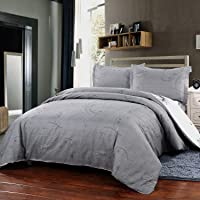 Simple&Opulence Polyester 3 Piece Jane European Style Bedding Light Grey Duvet Cover Set