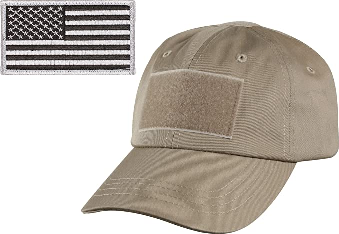 Khaki Military Tactical Operators Cap With Black   Silver USA Flag Patch a17d56217f3