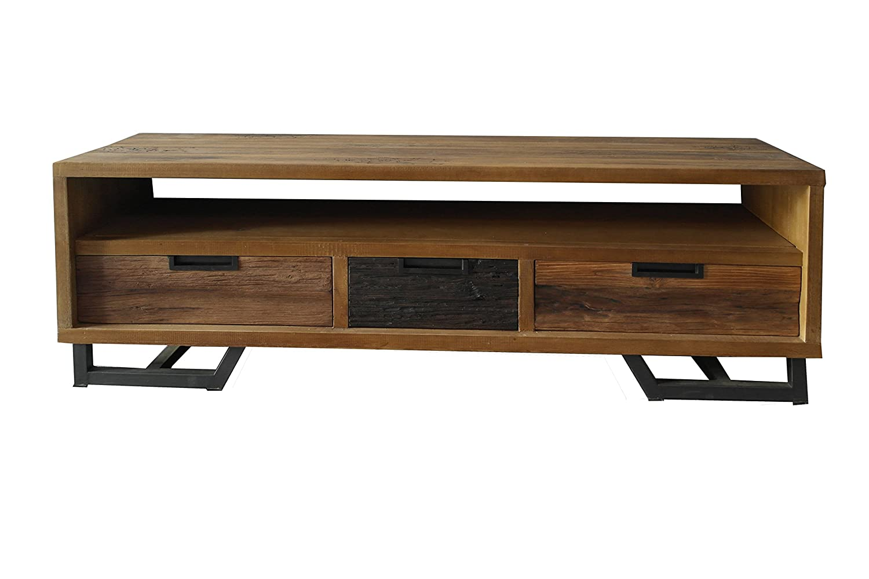 Lowboard Rahmen Albesia, Fronten und Türen Teakholz, Rückseite und Schubladenböden Sperrholz, Beine Eisen Antikfinish