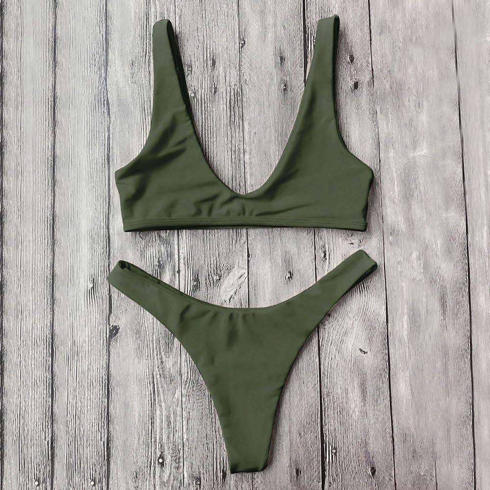 baca84ce5e Amazon.com: DressLily High Cut Scoop Neck Bikini Set,Army Green,S ...