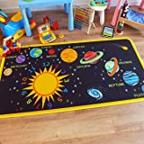 Superb Kids/Childs Rug Solar System Educational Play Mat 100cm x 200cm (3'3 x 6'6 approx)
