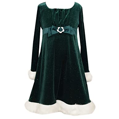 bonnie jean little girls baby green velvet chrismtas dress with faux fur trim - Green Christmas Dress