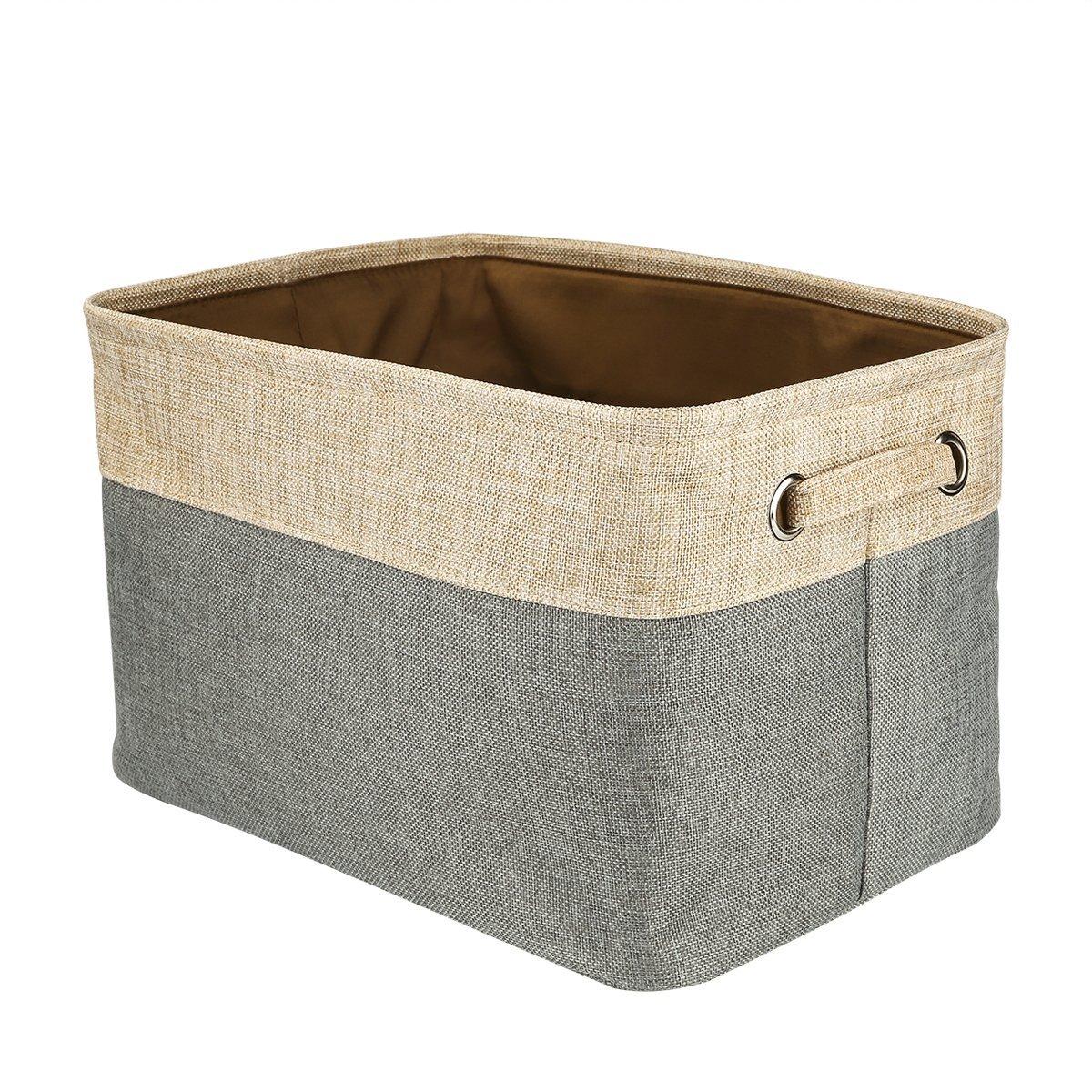 Foldable Convenient Storage Box Organizing Basket Closet Organizer with Handles, Cotton & Jute