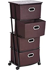 Umi. Essentials Rolling Storage Cart, 4-Drawer Organiser Cart with 4 Collapsible Fabric Bins and 4 Wheels (2 with Brakes) for Home, Office, Clothes, Art Supplies