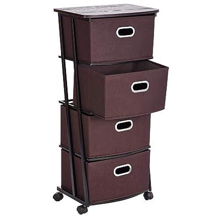 Umi. Essentials Cajonera con ruedas, cómoda de 4 cajones de tela con ruedas, carro de oficina, carrito de almacenamiento, marrón, 45,7 x 29,7 x 98,8 ...