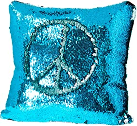 ReLIVE Reversible Sequins Color Changing Mermaid Pillow Case with Matching Throw Pillow Included 45x44cm (Blue Lagoon Turquoise & Aqua)