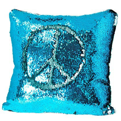 relive reversible sequins color changing mermaid pillow case with matching throw pillow included 45x44cm blue - Color Changing Pillow