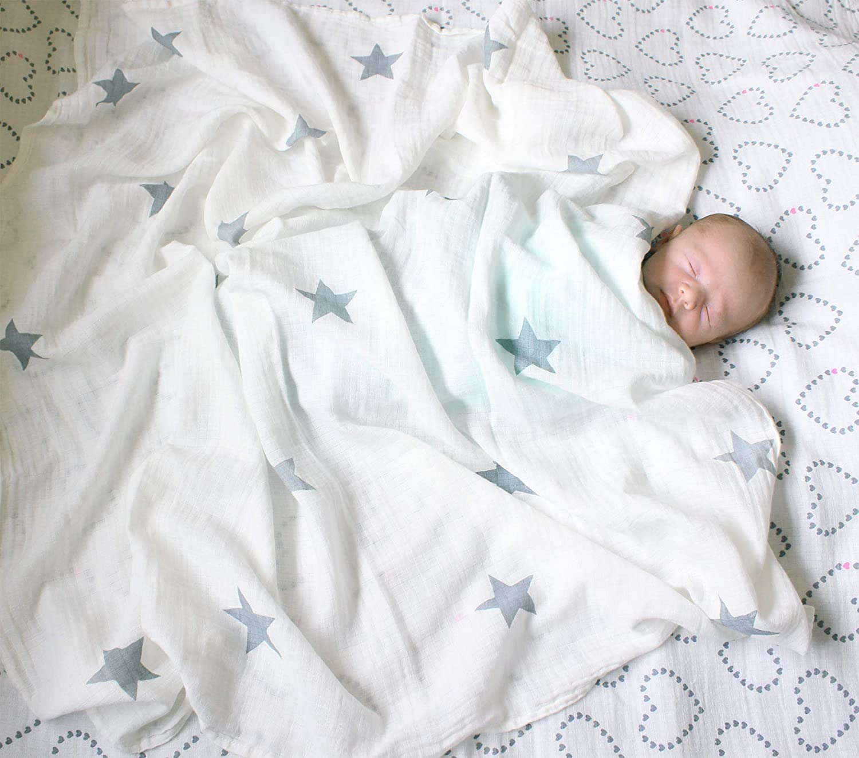 6 IN 1 Cute Boy /& Girl Unisex Baby Muslin Swaddle Blanket Set 100/% Cotton Newborn Essentials 3 x Bandana Bibs, 2 x Muslin Swaddle, 1 x sleeping bag 0 6 month