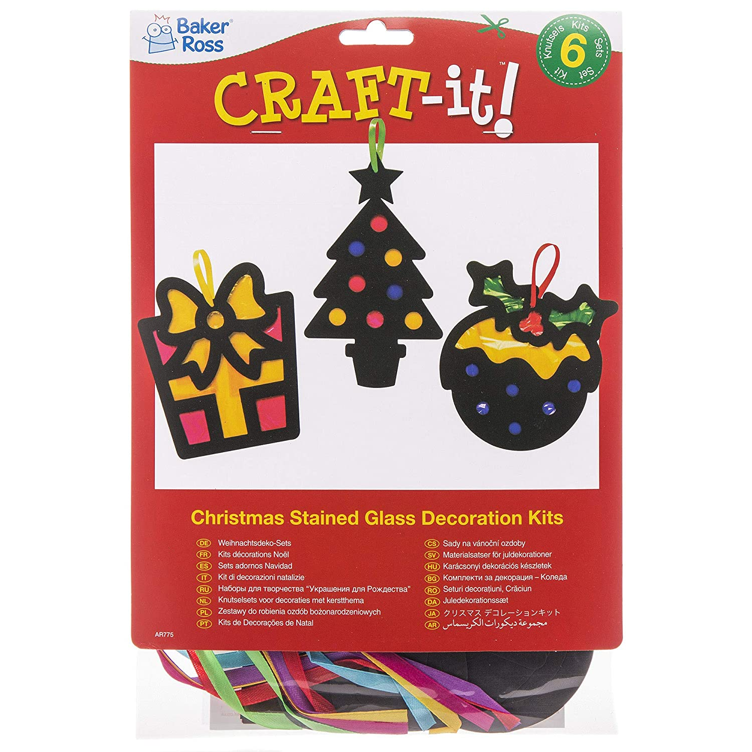 Baker Ross Christmas Stained Glass Effect Decoration Kits Pack 6