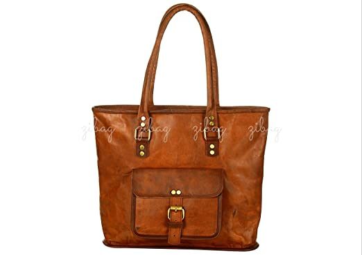 e02b0b9f54a0 ZiBag 12 inch Women Vintage Style Genuine Brown Leather Tote Shoulder  Shopping College Office Work Bag