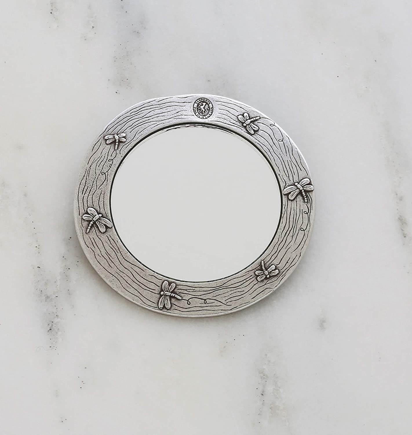 Teal Handcrafted USA Danforth Pewter - 2 7//8 Inch Diameter Gift Boxed Danforth Dragonfly Purse Mirror