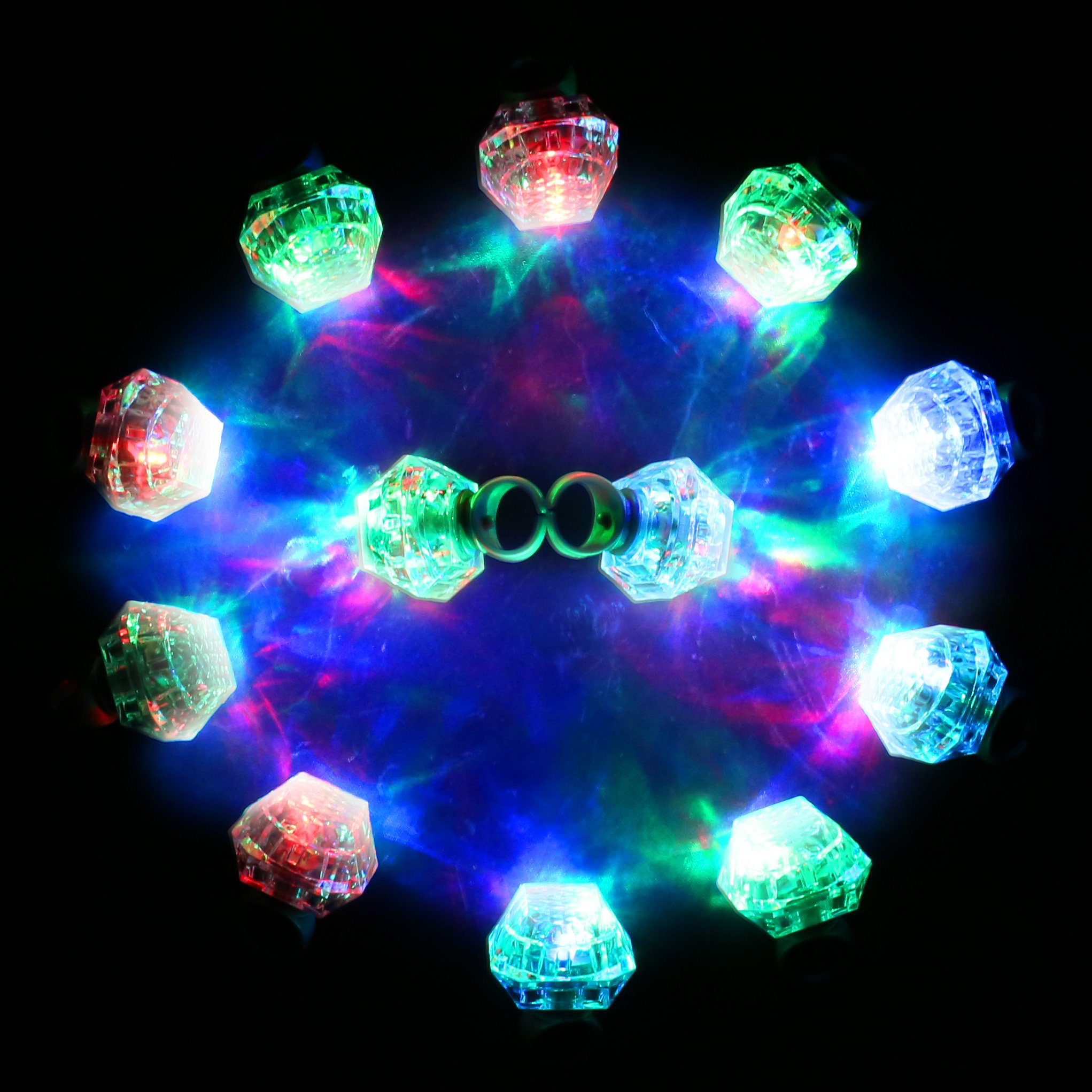 Konsait Flashing Led Light up Ring Toys Diamond Grow in the Dark Jelly Bumpy Rings for Birthday Bachelorette Bridal Shower Gatsby Party Favors (12pcs) by Konsait (Image #4)