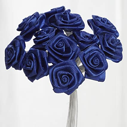 Amazon.com  BalsaCircle 144 Royal Blue Craft Ribbon Roses - Mini ... d017bb2bab7