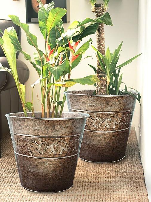 Indoor Garden Pots Amazon flower pots planters 13 inch set 2 outdoor and indoor flower pots planters 13 inch set 2 outdoor and indoor galvanized gardening pots for workwithnaturefo